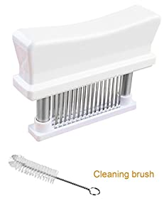 Beittal Kitchen Tool 56 Stainless Steel Blades Meat Tenderizer with Cleaning Brush - 1 Set - Black