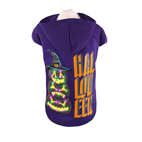 Royal Wise Pet Dog LED Light up Pumpkin Shape Hoodie Sweater Coat T Shirt Clothes (L)