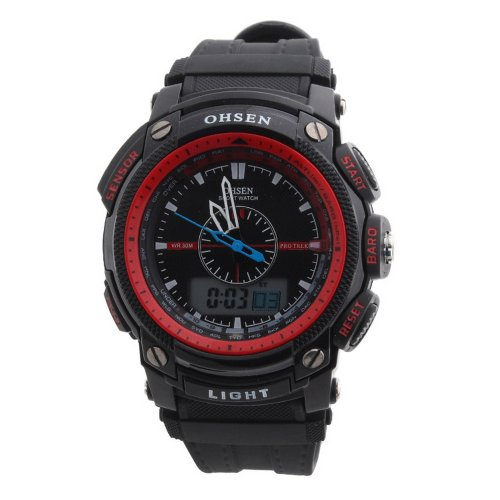 Ohsen Rubber Band Round Analog Unisex Sport Quartz Wrist Watch Red