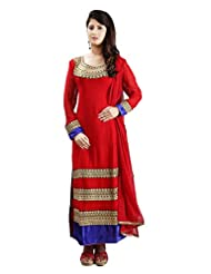 Sharmili Womens Georgette Fabric Ready-To-Wear Straight Embroidered Salwar Suit With Velvet, Zari & Badla Work