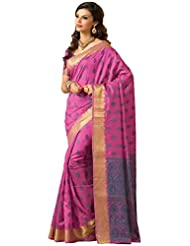 Stylowoman Pink Cotton Zari Border Festival Wear Saree