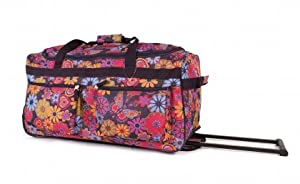 "27"" Large Purple Flower Print Lightweight Wheeled Holdall Holiday Weekend Travel Bag"