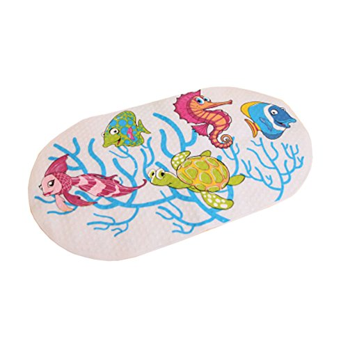 Lovely Submarine World PVC Non-Slip Bath Mat with Suction Cups White