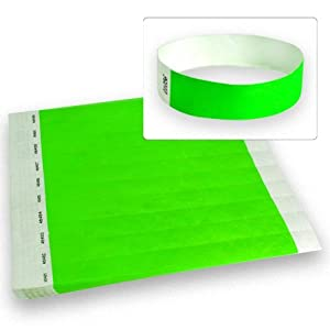 "Neon Green - Wristco 3/4"" Tyvek Wristbands - 500 Ct."