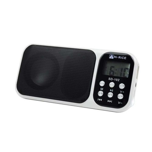 Hi-Rice Portable Mini Digital Media Speaker With Fm Radio Usb Micro Sd Slot Lights Alarm Clock Display (White)