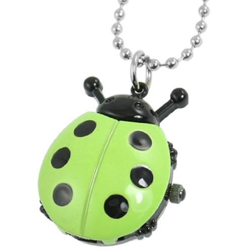 Rosallini Green Black Ladybug Pendant Beaded Chain Necklace Quartz Watch for Lady