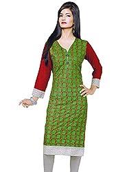 JCM Women's Rayon Green Straight Kurti XL Size