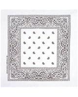 White Paisley Cotton Bandanna