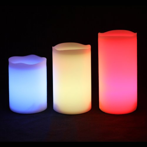 Frostfire Mooncandles - 3 Weatherproof Outdoor and Indoor Colour Changing Candles with Remote Control & Timer