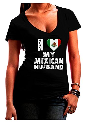 TooLoud I Heart My Mexican Husband Juniors V-Neck Dark T-Shirt