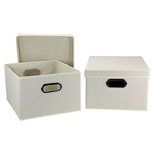 Household Essentials Collapsible Decorative Box with Lid and Built-In Grommet Handles, Natural