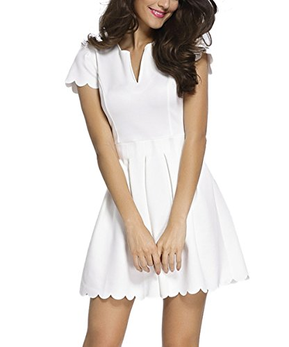 Sidefeel Women Short Sleeve Sweet Scallop Pleated Skater Dress Medium White