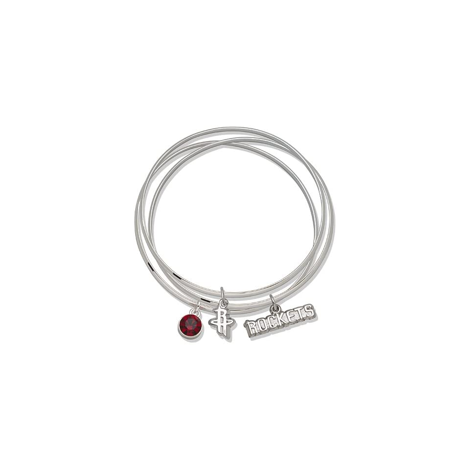 Houston Rockets Bangle Bracelet Set W/ Red Crystal