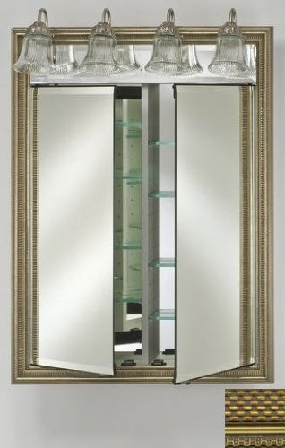 Afina Corporation DD-LT2434RELGGD 24 in.x 34 in.Recessed Double Door Cabinet with Traditional Lights - Elegance Gold