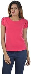 Sahiba Fashions Women's Cap Sleeve Top ( Pink)