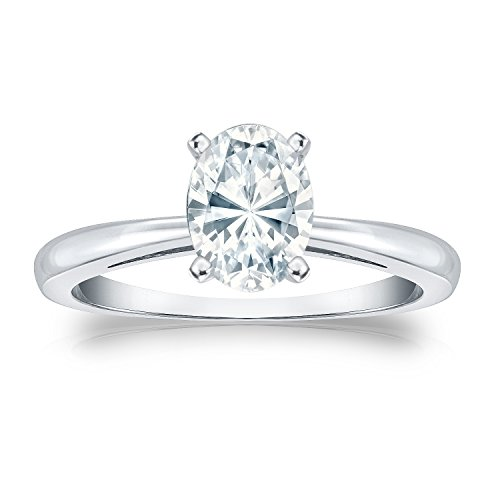 18K White Gold Oval Diamond Solitaire Ring In 4-Prong (1/4 Cttw, G-H Color, Si1-Si2 Clarity), Size 8
