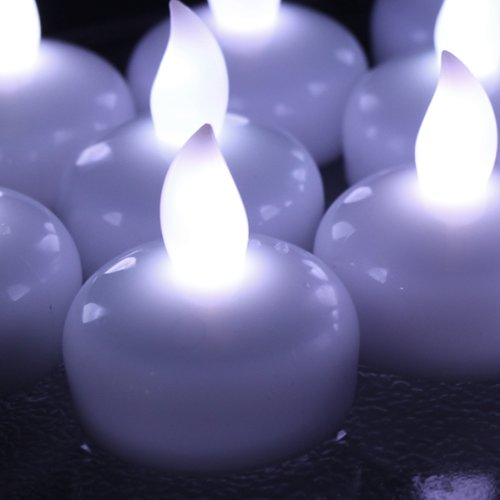 AGPtek Lot 12 LED Floating Tea Waterproof Wedding Party Floral Decoration flameless Candle White color