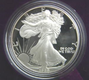 1989 Proof American Eagle Silver Dollar With Original