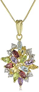 18k Yellow Gold Plated Sterling Silver Multi-Gemstone and Diamond Accent Drop Pendant Necklace, 18