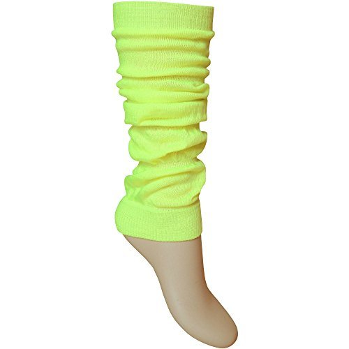 Low Price Ladies Bright Fluorescent UV Neon Yellow Stretch Fit Comfort Ankle Leg Warmers