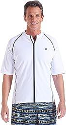 Coolibar UPF 50+ Men\'s Short Sleeve Water Jacket - Sun Protection (Large - White/Navy)