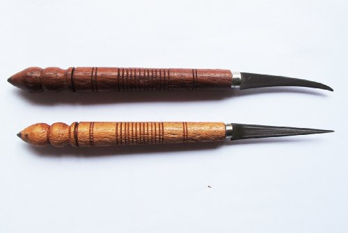 Set Of Fruit Carving Knife Handle Carving Wooden It Very Beautiful Of Thailand 2 Pcs.