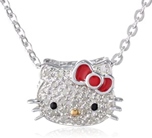 "Hello Kitty Sterling Silver 0.10cttw Diamond and Red Enamel Bow Slide Pendant Necklace, 18"" from Hello Kitty"