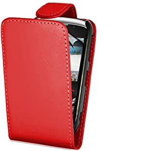 Supergets® Red Top Flip PU Leather Case For Blackberry Curve 8520/ 3g 9300, LCD Screen Protector And Micro Fibre Screen Polishing Cloth