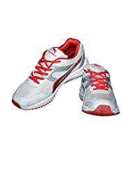 Dekkan Bullz D75 White And Red Sports Shoes