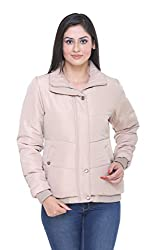 Trufit Full Sleeves Solid Women's Fawn Polyester Basic Casual Bomber Jacket