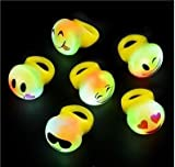 Flashing LED Light Up Toys, Emoji Rings, 24 -Pack, 2 Dozens