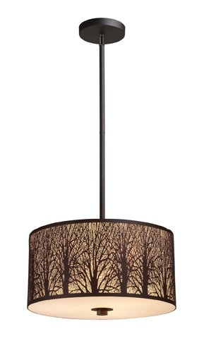 Elk 31074/3 Woodland Sunrise 3-Light Pendant In Aged Bronze