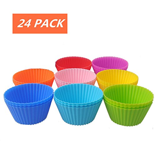Daixers Reusable Silicone Baking Cups For Cake Muffin Molds,Cupcake Liners (24-Pack) 8 colors (Antique Muffin Pan compare prices)