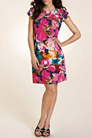 Per Una Cap Sleeve Floral Print Dress [T62-5176G-S]