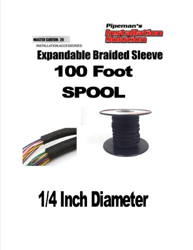 Black 1/4 100Ft Braided Expandable Flex Sleeve Wiring Harness Loom Wire Cover