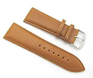 28mm Tan Padded Leather Watch Band with Spring Bars