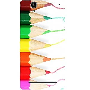 Casotec Pencil Colour Paint Design Hard Back Case Cover for Sony Xperia T2 Ultra