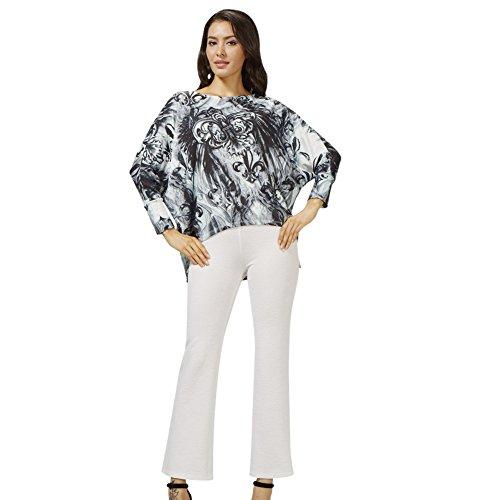 Sybell-Suter-flojo-blusa-de-la-impresin-de-la-camiseta-blanco-y-negro-PS-16090138-L