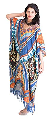 Sante Classics Women's Rayon Caftan Fringe Dress / Cover up One Size Casablanca