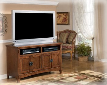 "Vintage Casual Medium Brown Oak 50"" TV Stand Entertainment Console"