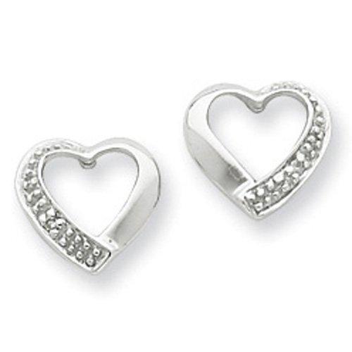 Sterling Silver Rhodium Diamond Heart Post Earrings