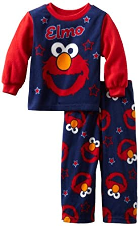 AME Sleepwear Boys Big Elmo Star 2 Piece Pajama Set, Multi, 2T