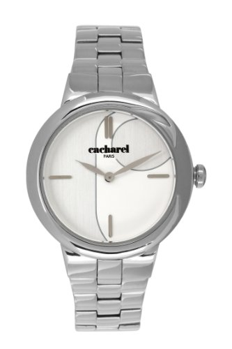 Cacharel CLD BM - 003/Women's Quartz Analogue Watch with Silver Steel Strap White Dial