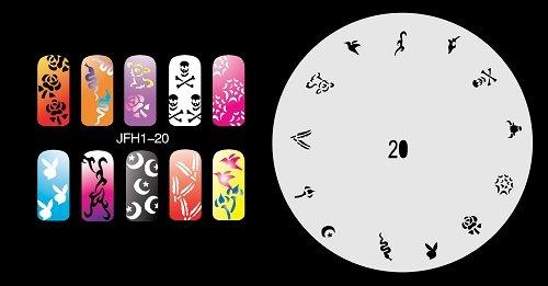 Fingernagel Schablone (airbrush nail art) Fengda JFH01-020