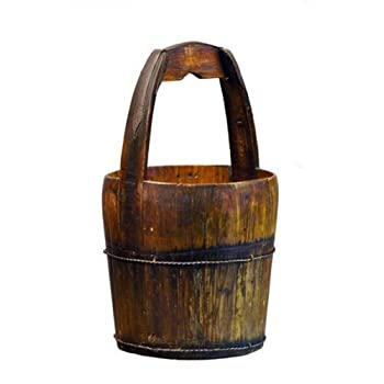 Antique Revival Ridged-Handle Wooden Water Bucket, Natural