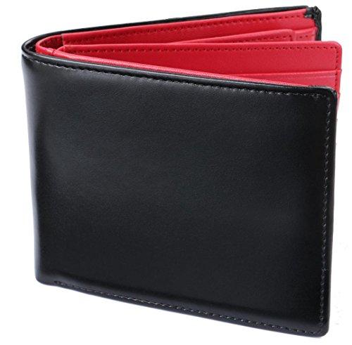 Legare 財布 二つ折り レザー 革財布 メンズ カード たくさん入る 2つ折り財布 10色 (ブラック×レッド)