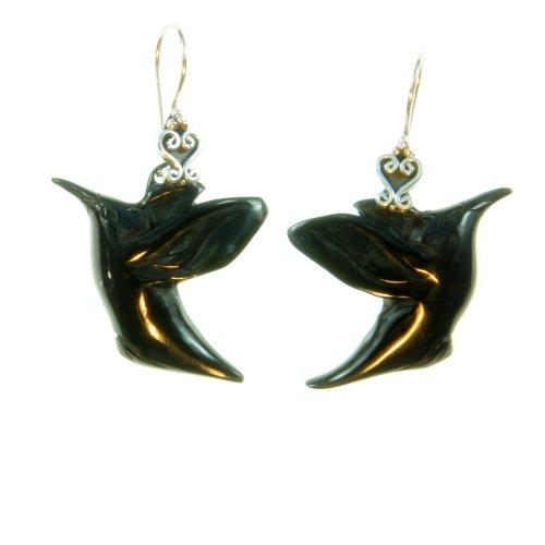 Black Soaring Bird Earrings Organic / Silver Jewelry of Bali