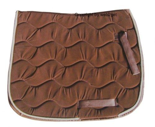 Braun Samt-Schabracke Dressur beige Kordel Satteldecken