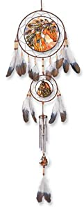 Amia 6049 Feathered Headress Dream-Suncatcher, Wind Chime, Hand-painted Glass, 8-1/2-Inch by 35-Inch L, Hanging Suncatcher Windchime