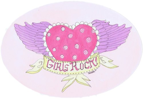 The Kids Room by Stupell Girls Rock! Heart with Wings Oval Wall Plaque